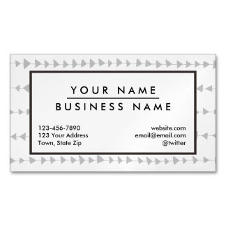Gray White Aztec Arrows Pattern Magnetic Business Card