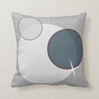Gray White Blue Circles Throw Pillow