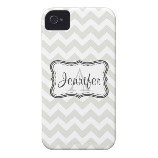 Gray & White Chevron Monogram iPhone 4/4s iPhone 4 Cases