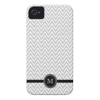 Gray white chevron monogram iphone 4 case