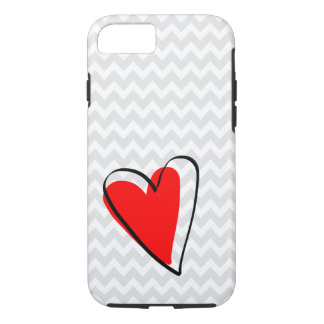 Gray White Chevron Pattern Cute Red Heart iPhone 7 Case