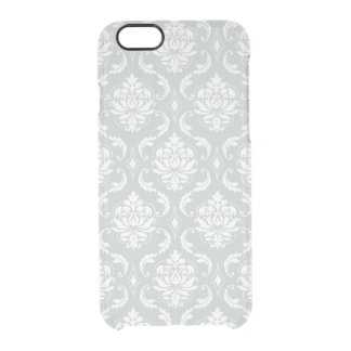 Gray White Classic Damask Pattern Clear iPhone 6/6S Case