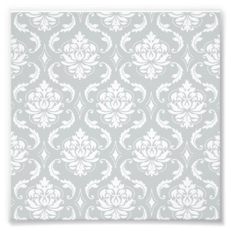 Gray White Classic Damask Pattern Photo Print