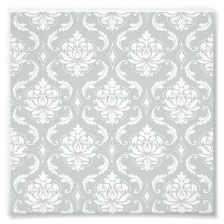 Gray White Classic Damask Pattern Photo Print
