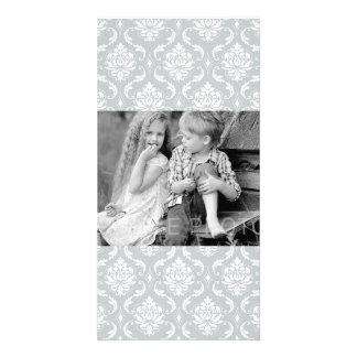 Gray White Classic Damask Pattern Photo Card