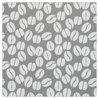 Gray white coffee beans pattern fabric