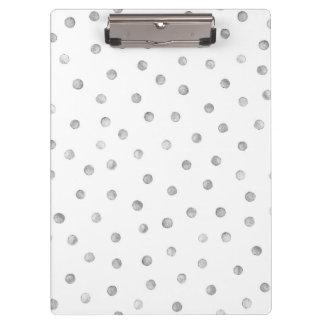 Gray White Confetti Dots Pattern Clipboard