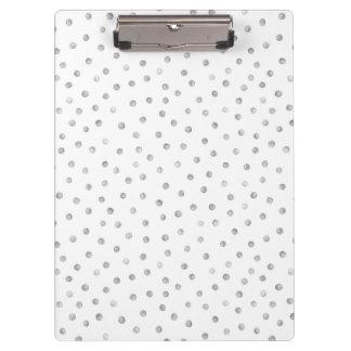 Gray White Confetti Dots Pattern Clipboards