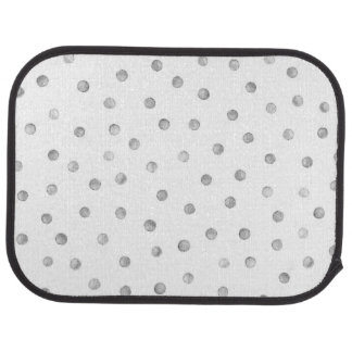 Gray White Confetti Dots Pattern Floor Mat