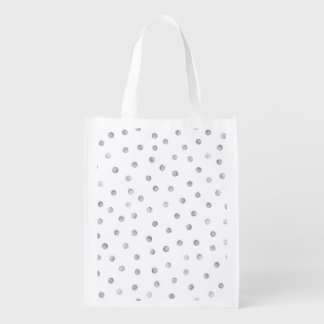 Gray White Confetti Dots Pattern Grocery Bags