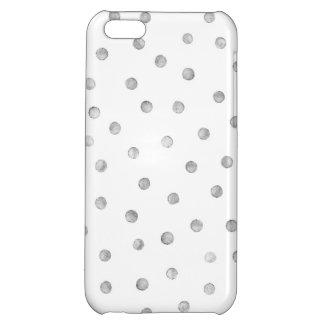 Gray White Confetti Dots Pattern iPhone 5C Cases