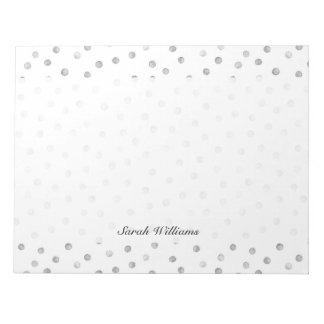 Gray White Confetti Dots Pattern Notepad