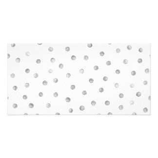 Gray White Confetti Dots Pattern Photo Cards