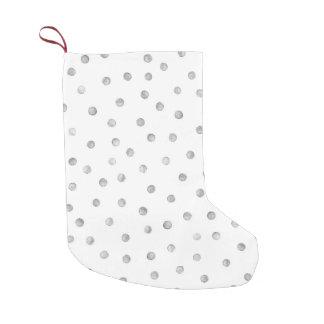 Gray White Confetti Dots Pattern Small Christmas Stocking