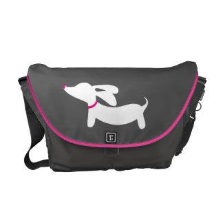 Gray & White Dachshund Messenger Laptop Bag Commuter Bag