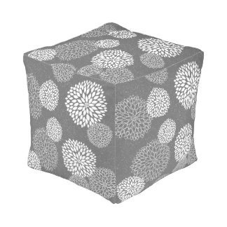 Gray White Dahlia Floral neutral decor pouf
