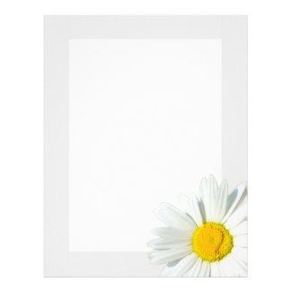 Gray & White Daisy Personalized Stationary Paper