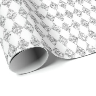 Gray White Diamond Cut Glam Glitter Sparkly Wrapping Paper