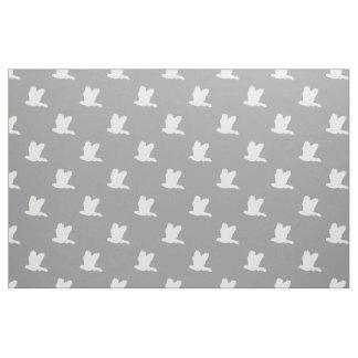 Gray white flying birds pattern fabric