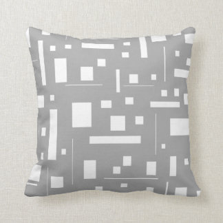 Gray White Geometric Abstract Pattern Futuristic Throw Pillow