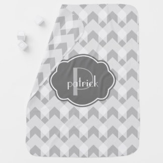 Gray & White gingham  chevron, w Monogram Baby Blanket