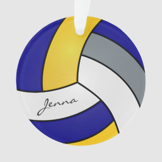 Gray, White, Gold and Blue Volleyball Ornament