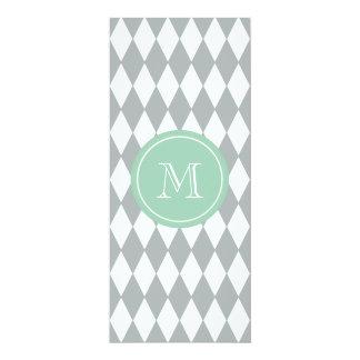 "Gray White Harlequin Pattern, Mint Green Monogram 4"" X 9.25"" Invitation Card"