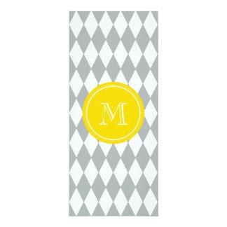 Gray White Harlequin Pattern, Yellow Monogram 4x9.25 Paper Invitation Card