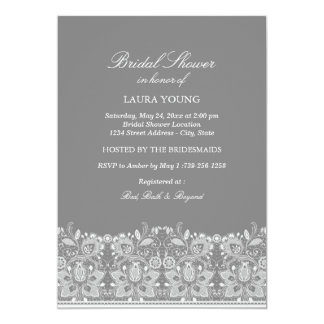 Gray & White Lace | Bridal Shower Invitation