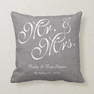 Gray White Linen Mr. and Mrs. Wedding Pillow
