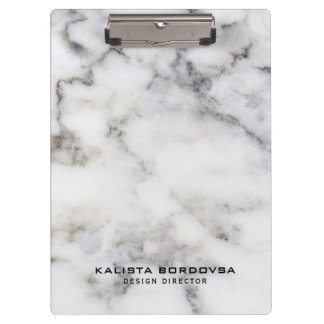 Gray & White Marble Stone Clipboard