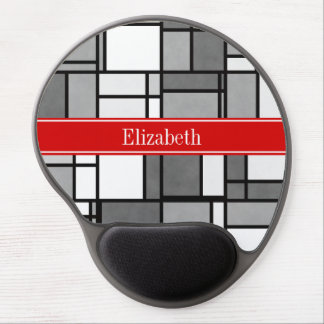 Gray White Mondrian Style Red Ribbon Monogram Gel Mouse Pad