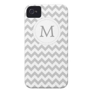 Gray White Monogram Chevron Striped iPhone 4 Case