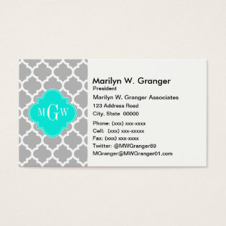 Gray White Moroccan #5 Brt Aqua 3 Initial Monogram Business Card