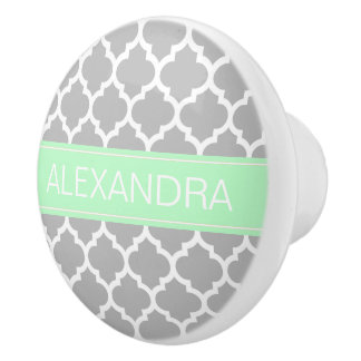 Gray White Moroccan #5 Mint Name Monogram Ceramic Knob