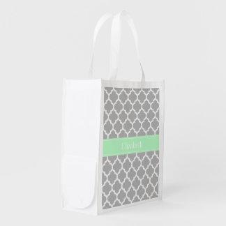 Gray White Moroccan #5 Mint Name Monogram Reusable Grocery Bag