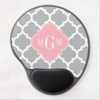 Gray White Moroccan #5 Pink 3 Initial Monogram Gel Mousepad
