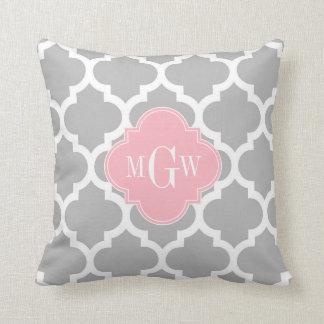 Gray White Moroccan #5 Pink 3 Initial Monogram Throw Pillow