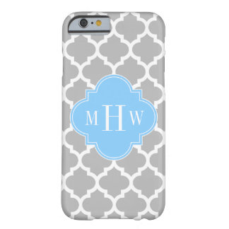 Gray White Moroccan #5 Sky Blue 3 Initial Monogram Barely There iPhone 6 Case