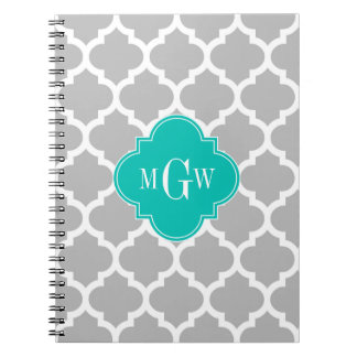 Gray White Moroccan #5 Teal 3 Initial Monogram Spiral Note Books