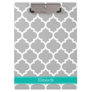 Gray White Moroccan #5 Teal Name Monogram Clipboard
