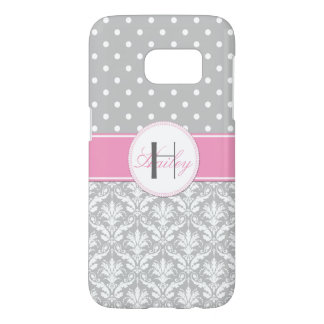 Gray White Polka Dots Damask Pink Monogram Samsung Galaxy S7 Case