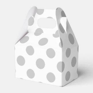 Gray White Polka Dots Pattern Favor Box
