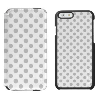 Gray White Polka Dots Pattern Incipio Watson™ iPhone 6 Wallet Case