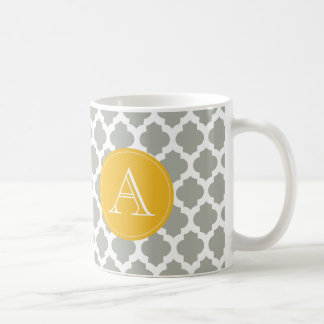 Gray & White Quatrefoil Mustard Yellow Monogram Coffee Mug