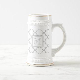 Gray White Quatrefoil | Your Monogram Beer Steins