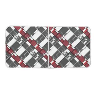 Gray, White, Red Geometric Abstract Beer Pong Table