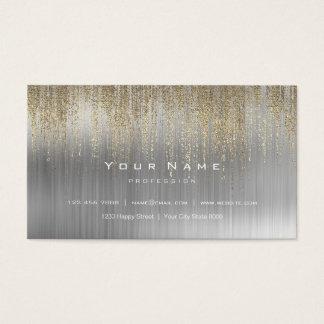 Gray White Silver Metallic Gold Matrix Cyber Rain Business Card