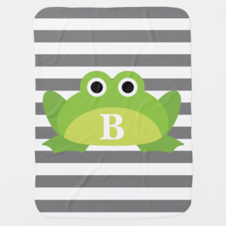 Gray White Stripe Pattern Frog Monogram Baby Blanket