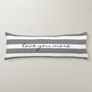 Gray & White Striped Custom Body Pillow